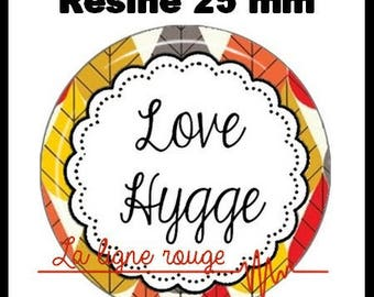 Round cabochon resin 25 mm - craft love hygge (2132) - text, Word, zen