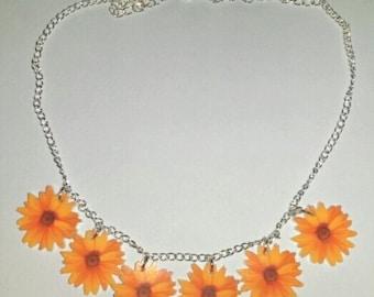 Orange Flower Daisy Chain Summer Festival Hippie Necklace