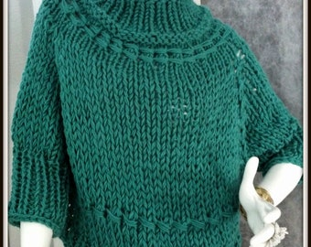 SWEATER WOMAN'S KNITTED Poncho With Sleeves