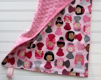Princess Minky Lovey, Baby Girl Security Blanket, Baby Girl Pink Lovey Blanket, Baby Girl Princess Shower Gift