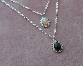 Silver Bohemian Style Fire Opal Or Black Onyx Necklace, Fire Opal Necklace. Black Onyx Necklace, Oval Pendant, Gift For Her,