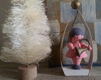 Vintage Erzgebirge wood angel musician ornament Germany