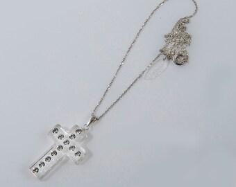 Clear lucite necklace, Cross necklace women, Swarovski necklace, Swarovski cross, Perspex cross, Cross necklace silver, Acrylic necklace.