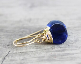 Blue Gemstone Earrings, Royal Blue Earrings, Gold Earrings, Quartz Gemstone Earrings, Wire Wrap Earrings, Wire Wrapped, Handmade Earrings