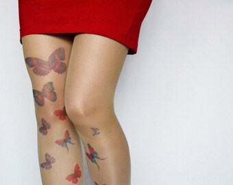 Butterflies Tattoo Tights , Design Tights , Tattoo Stockings , Butterflies Printed  Pantyhose