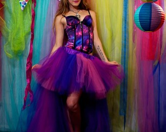 Hi Low Fairy Cheshire Cat tutu skirt Wedding Formal poofy trail bridal bustle dance prom costume -- You Choose Size -- Sisters of the Moon