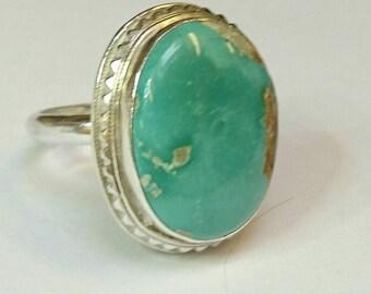 Sterling silver handmade royston turquoise ring, hallmarked in Edinburgh