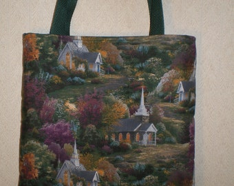 Thomas Kinkade Tote Bag Church Chapel Handmade Purse LIMITED