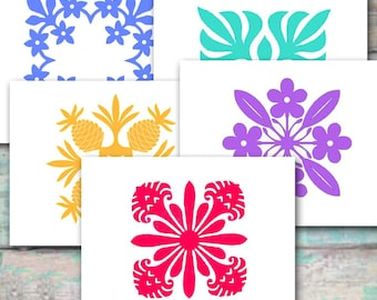 Hawaiian Quilting Note Cards II, Torch Ginger, Plumeria, Pineapple, Palm, Blank Cards, Set of Ten, Tropical, Red Blue Gold Teal Lavender