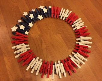 """18"""" Red, White, and Blue Flag Clothespin Wreath"""