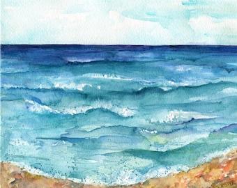 Beach painting, Seascape Original Watercolor Painting, watercolors paintings original  beach, ocean art watercolor, beach decor, marine art