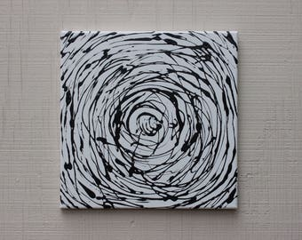 abstract acrylic art original painting black & white geometry circle on 12x12 canvas