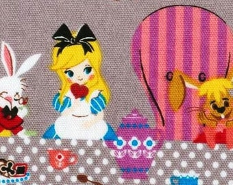 HALF YARD Japanese Cotton Fabric Disney Alice Wonderland Party Table Chair Row Gray