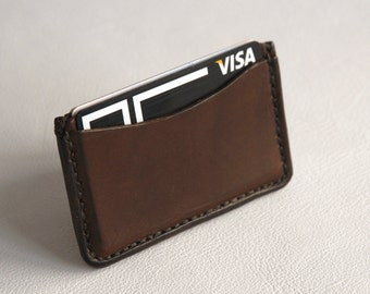 Card Holder, Leather Card holder, Leather Card Case, Card Case, Oiled Leather, Business Card Case, Chocolat Leather, 3 Pockets.
