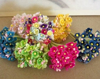 Artificial Flowers / Forget Me Nots / Seven Nosegays / Variety of Colors / Vintage Style / Craft Components / Gift Package Decorations