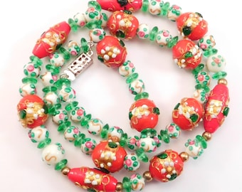 Early Venetian Glass Necklace Wedding Cake Beads