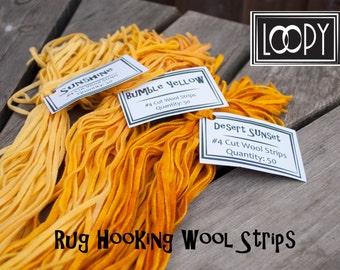 Rug Hooking Wool Strips, Three Yellows, Hand Dyed Wool for Rug Hooking, 100% wool  (150 Strips)