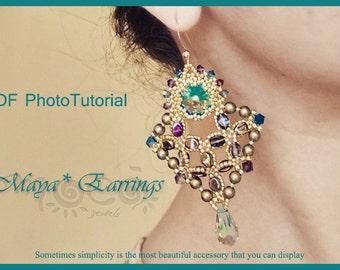 Photo Tutorial  ENG-Ita ,DIY earrings,*Maya* earrings ,PDF Pattern 61 with swarovski,cabochon,rivoli,pinch bead and seed beads