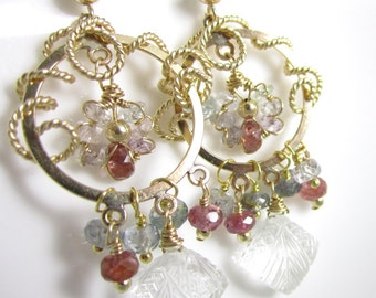 Her Majesty Earrings - 14k Gold Filled Chandeliers Decorated in Sapphires and Carved Topaz