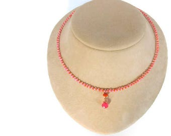 pink and orange drop necklace, seed bead jewelry