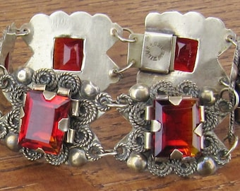 Vintage Mexican Silver Amberina Red Gold stones Bracelet jewelry hand made Mexico 6 linked panels Hecho en Mexico