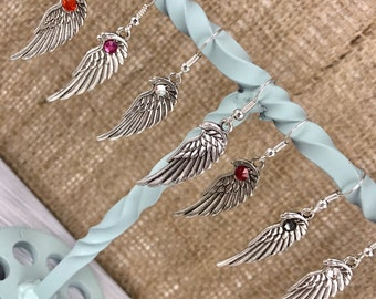Small Angel Wing Costume Earrings made plain or with Swarovski Crystals Biker Southern Cowgirl