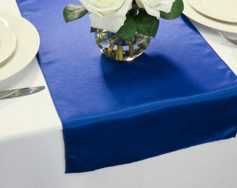 Royal Blue L'amour Satin Table Runner | Wedding Table Runners