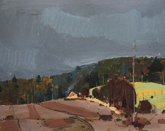 Overcast, Early April, Original Landscape Painting on Paper, Canada