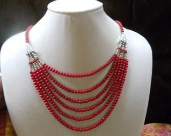 Coral 3-piece set statement jewelry Neclaces