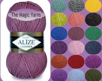 Alize Lanagold Classic-wool yarn,wool blend yarn, wool, acrylic, heavy weight yarn,knitting yarn, aran, 5 ply, cream, melange, coral, pink