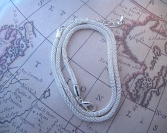 Silver Mesh Necklace 18 to 20 Inch Silver Plated Metal Mesh Choker with Extender
