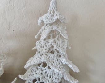 """vintage 4.5"""" crocheted standing tree ornament - white, cotton"""
