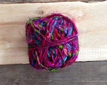 Pink multi-colour Recycled Silk String Twine Yarn Fair Trade Ethical Sustainable