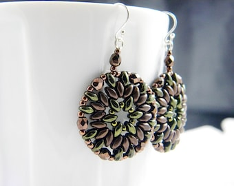 """READY TO SHIP Bronze and Metallic Green Superduo Beadweaving Earrings """"Forest"""""""