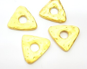 4 Gold Charms Gold Plated Triangle Charms  4 Pcs (20mm)  G6699