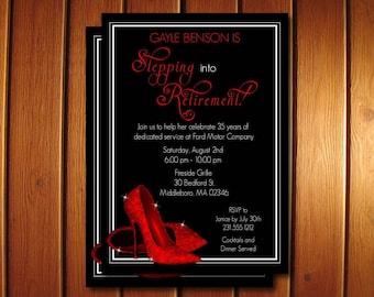 Red Glitter Shoes Retirement Invitation - Printable Retirement Party Invitations