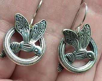 Antique 1930's Art Deco Silver Tone Metal Sterling Silver Loop France Fly Openwork Bee Dangle Earrings