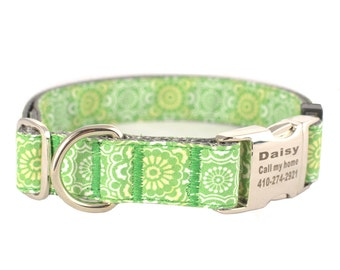 Collar with Personalized  Buckle,Pink Check,Fabric 178