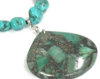 Genuine Turquoise, Turquoise Necklace, Turquoise Pyrite Pendant, Real Turquoise, Cripple Creek Turquoise Nuggets, Southwest, Gemstone