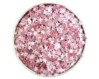 Light Pink Star Edible Glitter - metallic light pink star glitter sprinkles, edible pastel pink glitter stars, pink star sprinkles