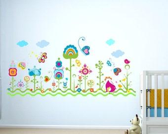 082 Wall tattoo flower meadow butterflies Butterfly bird * Nikima * in 5 different sizes