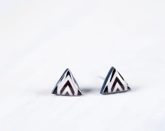 Triangle Stud Earrings, Triangle Studs, White And Black Stud Earings, Mens Earrings, Everyday Earrings, Earrings Geometric