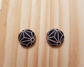 Cotton button earrings, Japanese print