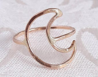 Sterling Silver Crescent Moon Ring - Eclipse Jewelry - Lunar Ring - Silver Moon Ring - Moon Phase Jewelry - Open Crescent Ring