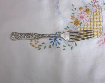 Vintage BS CO Childs Silver Plate Floral Fork