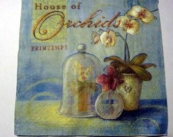 Decoupage Napkins,  vintage paper napkins, orchid