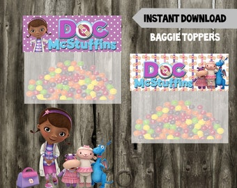 Doc McStuffins Baggie Toppers // Party Favor // Doc Mcstuffins Birthday Favor// DIY // Printable // Instant Download
