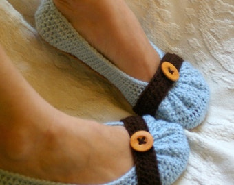 Crochet Pattern for Cute as a Button Ballet Flat House Slippers Pattern number 111 - Instant Download L