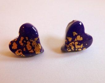 Heart Earrings Heart Stud Earrings Heart Post Earrings Purple Heart Stud Earrings Purple Heart Post Earrings Valentine's Day Earrings
