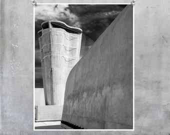 Black and white photography Le Corbusier Marseilles Cité Radieuse modernist architecture fine art monochrome wall art France home decor